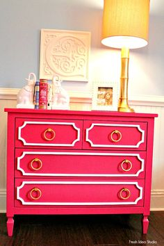 southern living home | hot pink and gold dresser Don't Miss this virtual HOME TOUR at Fresh Idea Studio
