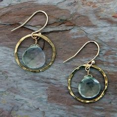 Green Amethyst in Hammered Gold Earrings