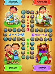 The Bible is full of lessons and stories that Christian families can use to help make good decisions. These paraphrased Bible chapters and Christian morals stories illustrate Biblical values to chi… Bible Games, Bible Activities, David Bible, Jesus Cartoon, Jesus Is Life, Bible Crafts For Kids, Bible Illustrations, Board Games For Kids, Worship God