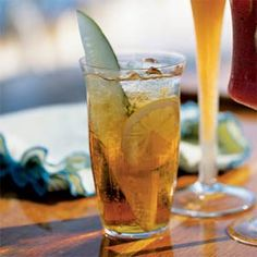 This refreshing drink gets most of its flavor from Pimm's No. 1, a gin-based aperitif with fruit juices and spices. Cucumber spears make a crunchy garnish. Makes 4