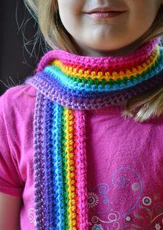 Very easy crochet rainbow scarf pattern