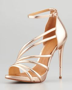 Adeline Strappy Metallic Sandal, Frappe by Schutz at Neiman Marcus.$ 180