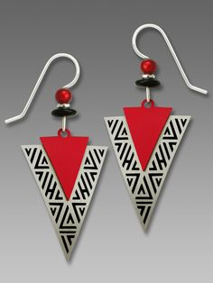 Adajio Earrings - Red and Brushed Metal Arrowheads with Black Detail Edging