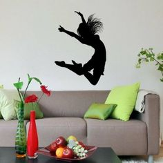 Girl Dancing Silhouette Hair Wall Vinyl Decals Art Sticker Home Modern Stylish Interior Decor for Any Room Smooth and Flat Surfaces Housewares Murals Design Window Graphic Dance Studio Bedroom Living Room (4559)