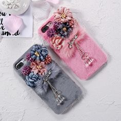 KISSCASS Luxury Flower Crystal Plush Hairy Furry Case For iPhone 7 6 6s Plus Hairy Hard Cover For iPhone 6 6s 7 Plus Case Coque