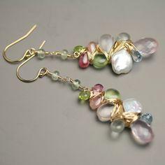 Petal Pearl and Pastel Gemstone Dangle Earrings by fussjewelry, $158.00