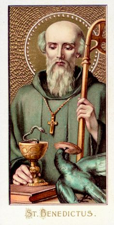 Saint Benedict.  July 11 He is the father of Western Monasticism, most monks still follow his rule. Living as a hermit when he founded his order, a raven with bread offers him sustenance. He holds the Abbot's staff. Jealous monks once tried to poison his wine; the snake of Satan is lurking in the chalice. The closed book is for mysterious teachings. Benedict was known for his supernatural gift of prophecy.