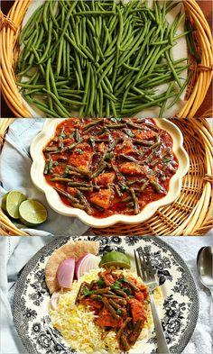 Turmeric & Saffron: Khoresh-e Loobia Sabz - Persian Green Bean Stew with Chicken Lebanese Recipes, Indian Food Recipes, Asian Recipes, Ethnic Recipes, Middle East Food, Middle Eastern Recipes, Afghan Food Recipes, Iran Food, Iranian Cuisine