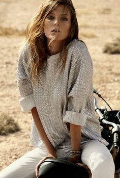 white jeans silver sweater