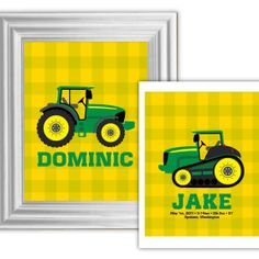 http://theheim.co/vanessa/portfolio/green-tractor-printables/ Make this a cheerful keepsake by personalizing your printables with a name and adding up to 2 lines of smaller text (max. 25 words)--------- Green Tractor, Decor, Children, Boys Bedroom, John Deere Inspired, Nursery Prints, Frameable, Harvest, Farm Theme, Printable