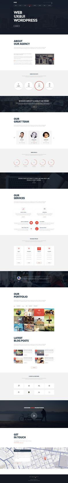 RISE OnePage Agency Portfolio Template - Wordpress Portfolio Theme - Ideas of Wordpress Portfolio Theme - RISE OnePage Agency Portfolio Template Design Web, Web Design Studio, Mobile Web Design, Portfolio Web Design, Page Design, Graphic Design, Web Layout, Layout Design, Editorial Design