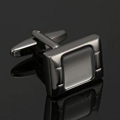 White Opal Stainless Steel Intense Silver Black Cufflinks for Men | RnBJewellery