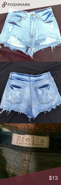 Stella Laguna Beach Jean shorts!! Ordered off posh -I love these shorts so much but they don't fit😔 no size but could fit 0-2. They're high waisted!😍 Stella  Shorts Jean Shorts