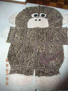 Furry Monkey Critter Rag Blanket by ComfortCritters on Etsy, $65.00