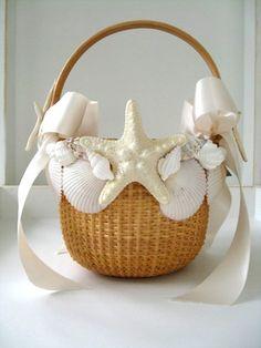 BEATH THEME wreath centerpieces weddings | Flowergirl Basket and Seashell Ring Holder | Beach-Theme-Wedding-Ideas