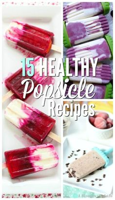 15 Healthy Popsicle Recipes- no refined sugar or unnatural ingredients. 15 healthy popsicle recipes that have no refined sugar and are made from natural ingredients. The perfect healthy summer treat for kids. Home Made Popsicles Healthy, Homemade Fruit Popsicles, Healthy Popsicle Recipes, Ice Pop Recipes, Yogurt Popsicles, Homemade Ice, Ice Cream Recipes, Real Food Recipes, Healthy Treats For Kids