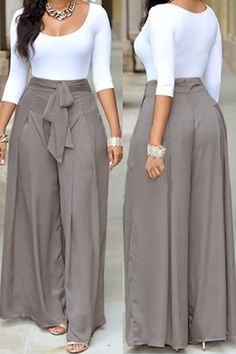 Casual O Neck Three Quarter Sleeves Lace-up Two-piece Pants Set(White Top+Silver Bottom)_Two-piece Outfits_Womens Clothing_LovelyWholesale | Wholesale Shoes,Wholesale Clothing, Cheap Clothes,Cheap Shoes Online. - LovelyWholesale.com
