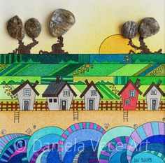 Maritime landscape in Northern Europe, sea, beach, houses, countryside and sun. Art, Acrylic Painting, Markers