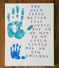 Wish i could have done this my dad before he passway.Handprint Gift for Grandparents | About Family Crafts Diy Mother's Day Crafts, Mother's Day Diy, Fathers Day Crafts, Baby Crafts, Toddler Crafts, Crafts To Do, Holiday Crafts, Crafts For Kids, Diy Gifts For Grandma