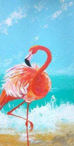 FLAMINGOS Watercolor 8x10 or 5x7 Art Print Painting in Black Frame Pink Orange Tropical Island Bird for Beach House Decor Ocean Life