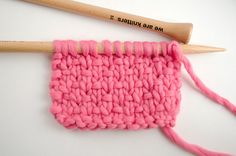 Ribboned stockinette stitch with bubblegum wool | We Are Knitters