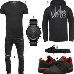 Schwarzes Herren-Outfit mit Blend Hoodie (m0447) #outfit #style #fashion #menswear #mensfashion #inspiration #shirt #cloth #clothing #männermode #herrenmode #shirt #mode #styling #sneaker #menstyle