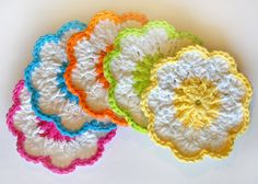 Summer Flower Coasters- White with Pink, Orange, Yellow, Green and ...1500 x 1071 | 406.6KB | www.etsy.com