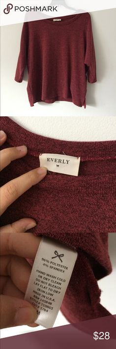 "{Everly}sweater. Size Med! Made in the USA! Such a beautiful Everly sweater with a pretty red color. Perfect for Christmas! Bust is 23 inches across and length is 23 inches in front and 24"" in the back. Sleeves are batwing style. Everly Sweaters"