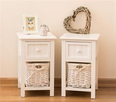 Pair of Brand New Shabby Chic White Bedside Units with Wicker Storage in Home, Furniture & DIY, Furniture, Bookcases, Shelving & Storage | eBay