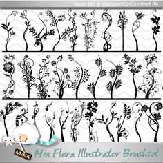Extensive details on this beautiful brush library, 30 different flower pattern, and CS2/CS3 Illustrator brush library.    Set: 30 floral brush and original EPS vector patterns.