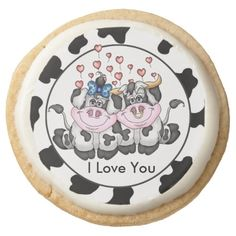 I Love You Cow shortbread cookie Round Sugar Cookie