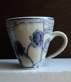 Blue and White Floral Mug/ Poppy Floral Coffee Cup/ Floral and