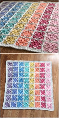 A mosaic tile square is a beautiful geometric design that is very classic and classy. Crochet Squares Afghan, Crochet Quilt, Granny Square Crochet Pattern, Afghan Crochet Patterns, Crochet Stitches, Ripple Afghan, Crochet Gratis, Free Crochet, Crochet Gloves