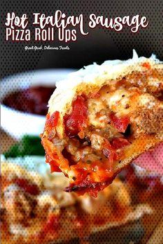 #greatgrubdelicioustreats #italianappetizers #appetizerrecipes ... Italian Appetizers, Appetizer Recipes, Italian Sausage Pizza, Pizza Roll Up, Roll Ups, Grubs, Mozzarella, Lasagna, Yummy Treats