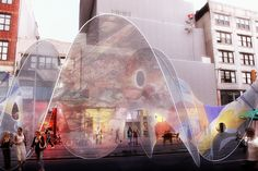 Synthesis Design + Architecture (SDA), Tensioned Relaxations, outdoor structure, New York, street fair, SA Studios / SA-UP Collective, Frei Otto, fiberglass, tensioned structure, tension, organic form