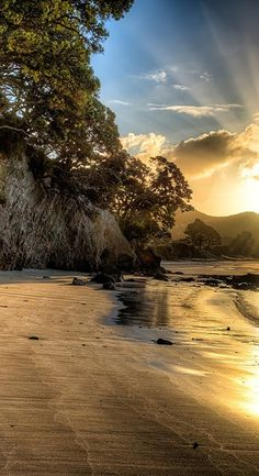 The Sun sets over Hahei Beach in New Zealand