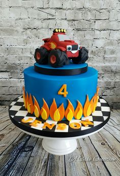 Best Ideas for kids truck cake Torta Blaze, Bolo Blaze, Blaze Cakes, Blaze Birthday Cake, Monster Truck Birthday Cake, 3rd Birthday Cakes, 4th Birthday, Birthday Ideas, Blaze And The Monster Machines Cake