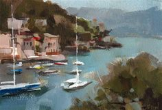 "Daily Paintworks - ""Acrylic Quick Study - Portofino"" - Original Fine Art for Sale - © David Lloyd"