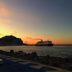 #Palermo's #sunset. The #harbor, #montepellegrino and #ship #sailing away.