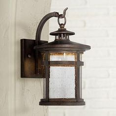 Clear seedy glass offers added style in this painted bronze finish steel outdoor wall light design.