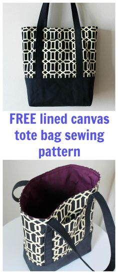 FREE lined canvas tote bag sewing pattern ready for download.