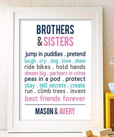 Look what I found on #zulily! 'Brothers & Sisters are Best Friends' Personalized Print #zulilyfinds