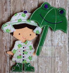 Lluvias de abril: Mariquita o rana impermeable conjunto de muñecas de fieltro niñas