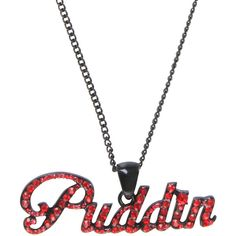 DC Comics Harley Quinn Puddin Bling Necklace Hot Topic ($6.80) ❤ liked on Polyvore featuring jewelry, necklaces, chain necklaces, long pendant, chain pendants, gem pendant necklace and red pendant necklace