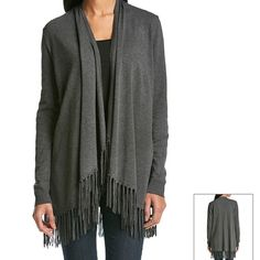 Chelsea & Theodore Gray Fringe Cardigan - NWT •Featured in heather gray •Flat shawl neckline •Open front •Long sleeves with ribbed cuffs •Fringed hem •Machine washable •Made of nylon & spandex Chelsea & Theodore Sweaters Cardigans