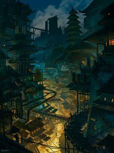 City at night by Zhengsuji
