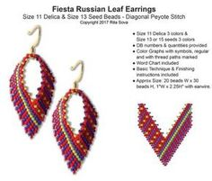 Arrowhead and Feathers Russian Leaf Earrings, Sova Enterprises Beaded Earrings Patterns, Beading Patterns Free, Seed Bead Patterns, Seed Bead Earrings, Leaf Earrings, Seed Beads, Bead Jewelry, Bracelet Patterns, Weaving Patterns