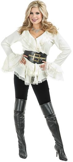 This one looks like something that could actually happen. pirate costume for a lady - love this blouse.