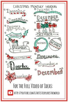 Holly Jolly Christmas Bullet Journal Ideas - Chasing A Better Life Bullet Journal Christmas, December Bullet Journal, Bullet Journal Notebook, Bullet Journal Inspiration, Bullet Journal Headers, Bullet Journal Themes, Journal Layout, Journal Pages, Journal Ideas