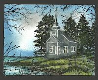 From Sandy's scenic class, here are 2 scenes using Stampscapes Country Chapel Lakeside Cabin, Homemade Greeting Cards, Paint Cards, Masculine Cards, Card Tags, Cool Cards, Cardmaking, Christmas Cards, Scenery